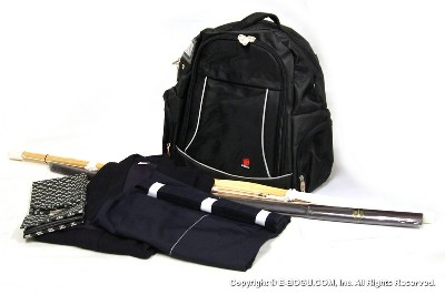 Navy Blue Keikogi/Tetron Hakama Set with Shinai, Bokuto, and Shinai Bag + Backpack