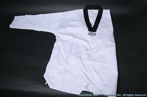 Taekwondo RIBBED Uniform Set with Black Collar - size 3 - (TOP ONLY)