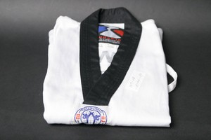 ** CLEARANCE ** Taekwondo Uniform Top (ribbed) with Black Collar- size 1