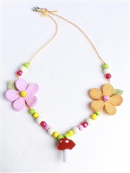 Everbloom Mushroom Necklace in Red