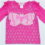 Everbloom Fuschia Long sleeve Butterfly Tee sil/pnk