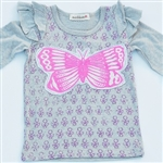 Everbloom G-Gray Butterfly Tee purple & pink