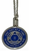 "Holder Screw Top 24"" Nickel Plated Necklace Chain Medallion Holder"