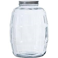 BOTTLE 2.5 GLASS BARREL JAR WIDE MOUTH WITH LID