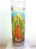 OUR LADY OF GUADALUPE (VIRGEN DE GUADALUPE) SEVEN DAY UNSCENTED WHITE CANDLE IN GLASS