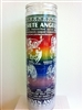 SEVEN COLOR SEVEN DAY SEVEN ANGELS AND 13 SACRED CHERUBS CANDLE IN GLASS