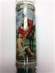 SAINT MARTIN CABALLERO SEVEN DAY GREEN CANDLE IN GLASS