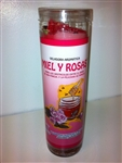 HONEY AND ROSES PREPARED SEVEN DAY CANDLE IN GLASS ( MIEL Y ROSAS CANDLE )