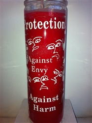 PROTECTION AGAINST ENVY AND HARM SEVEN DAY UNSCENTED RED CANDLE IN GLASS (CONTRA ENVIDIA)