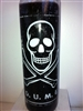 DEATH UNTO MY ENEMIES (D.U.M.E.) SKULL SEVEN DAY UNSCENTED BLACK CANDLE IN GLASS (M.C.M.E)