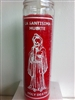 HOLY DEATH SEVEN DAY UNSCENTED RED CANDLE IN GLASS ( LA SANTISIMA MUERTE CANDLE )
