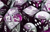 Chessex 12D6 - 16mm Gemini Purple-Steel with White Pips