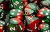 Chessex 12D6 - 16mm Gemini Green-Red with White Pips