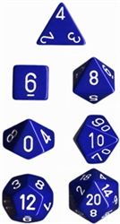 Chessex Polyhedral 7 Die Set - Opaque Blue with White Numbers