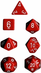 Chessex Polyhedral 7 Die Set - Opaque Red with White Numbers