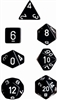 Chessex Polyhedral 7 Die Set - Opaque Black with White Numbers