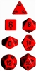 Chessex Polyhedral 7 Die Set - Opaque Red with Black Numbers