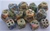 Chessex Polyhedral 7 Die Set - Festive Vibrant with Brown Numbers