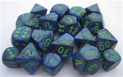 Chessex Polyhedral 7 Die Set - Lustrous Dark Blue with Green Numbers