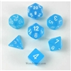 Chessex Polyhedral 7 Die Set - Cirrus Light Blue with White Numbers