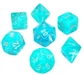 Chessex Polyhedral 7 Die Set - Cirrus Aqua with Silver