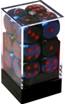 Chessex 12D6 - 16mm Gemini Black-Starlight with Red Pipps