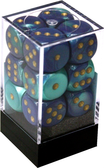 Chessex 12D6 - 16mm Gemini Blue-Teal with Gold Pipps