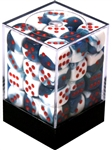 Chessex 36D6 - 12mm Gemini Astral Blue-White with Red Pipps