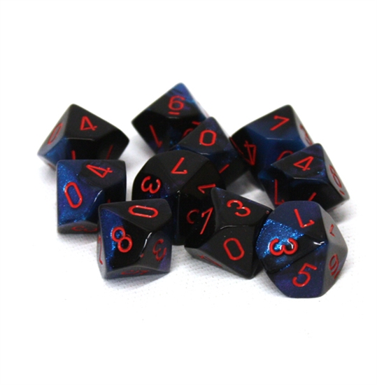 Chessex 10D10 - Gemini Black-Starlight with Red Numbers