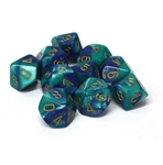 Chessex 10D10 - Gemini Blue-Teal with Gold Numbers