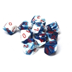 Chessex 10D10 - Gemini Astral Blue-White with Red Numbers