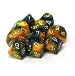 Chessex 10D10 - Gemini Masquerade-Yellow with White Numbers