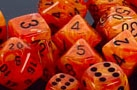 Chessex 12D6 - 16mm Vortex Orange with Black Pipps