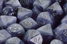 Chessex 12D6 - 16mm Phantom Black with Silver Pipps