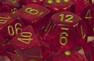 Chessex 12D6 - 16mm Borealis Magenta with Gold Pipps