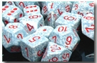 Chessex 12D6 - 16mm Speckled Air with Red Pipps
