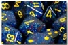 Chessex 12D6 - 16mm Speckled Twilight with Yellow Pipps