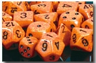 Chessex 12D6 - 16mm Speckled Fire with Black Pipps
