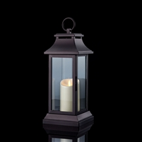 "Luminara - Flameless LED Candle Lantern - Traditional Black Metal Lantern - 6.25"" Square x 15"" Tall"