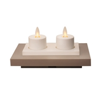 "Luminara - Set of 2 Rechargeable Flameless LED Tealights With Charging Base - Ivory ABS - 1.5"" x 1.5"" - Remote Capable"