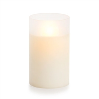 "Luminara - Flameless LED Candle - Frosted Glass Cylinder - Ivory Wax - Unscented - Remote Ready - 3.5"" x 6"""