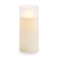 "Luminara - Flameless LED Candle - Frosted Glass Cylinder - Ivory Wax - Unscented - Remote Ready - 3.5"" x 8"""
