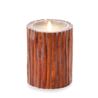 "Luminara - Flameless LED Candle - Embedded Cinnamon Sticks - Indoor - Unscented Ivory Wax - Remote Ready - 4"" x 5"""