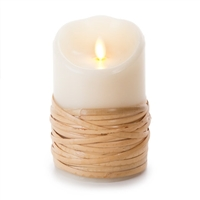"Luminara - Flameless LED Candle - Indoor - Wax - Reed Wrapped - Remote Ready - 3.5"" x 5"""