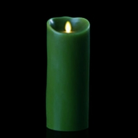 "Luminara - Flameless LED Candle - Indoor - Wax - Forest Green - Remote Ready - 4"" x 9"""