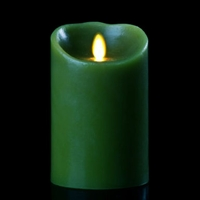 "Luminara - Flameless LED Candle - Indoor - Wax - Forest Green - Remote Ready - 3.5"" x 5"""