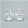 "Pair of Clear Glass Taper Candle Holders - Smooth Curves & Edges - 1.95"" x 2.3"""