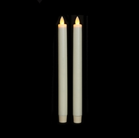 "Liown Moving Flame - Flameless LED Taper Candles (Pair) - Indoor - Unscented Ivory Wax - 7/8"" x 10"" - Remote Ready"