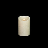 "Liown - Moving Flame - Flameless LED Candle - Indoor - Pearl Glitter Coating - Unscented Wax - Remote Ready - 3.5"" x 5"""