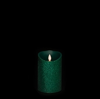 "Liown - Moving Flame - Flameless LED Candle - Indoor - Green Glitter Coating - Unscented Wax - Remote Ready - 3.5"" x 5"""